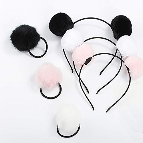 (6 Pieces 3 Pairs Fluffy Furry Pom Ball Headband and Elastic Hair Ties Fuzzy Faux Fur Animal Ears Double Pom Headband PomPom Hair Band for Girls and Women)
