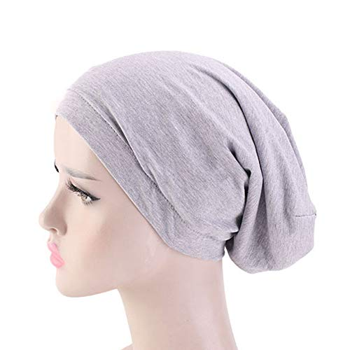 (Durio Hat for Women Satin Lined Soft Sleep Caps for Curly Women Silk Hair Scarf for Sleeping Night Beanies Girl Slap Hat Gray One Size )