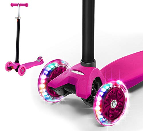 Rugged Racers Pink Kick Scooter for Boys & Girls 3 Wheel Scooter, Adjustable Kick Scooter for Kids with PU LED Light Up Wheels, Step Brake, Lean 2 Turn, Ride on Toys for Children 5 Year Plus
