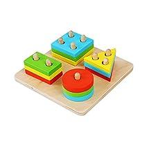 Icarekit Wood Geometric Sorting Baby Board Game Shape Plan Blocks Kids Educational Toys