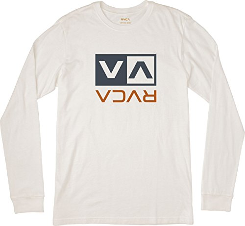 RVCA Men's Flipped Box Long Sleeve T-Shirt Antique White Large