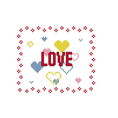 - Love and Hearts Cross Stitch Pattern: Whole cross stitch and backstitch only.
