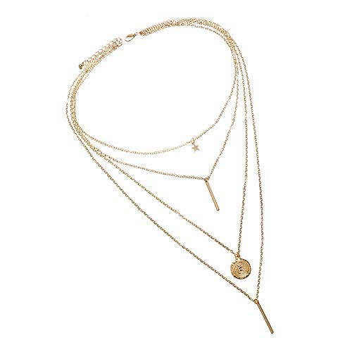 Haluoo_Jewelry Fashion Layered Necklace,Haluoo Women Trendy Dainty Pentagram Pendant Choker Vintage Coin Pendant Clavicle Chain Minimalist Metal Bar Pendant Gold Plated Sweater Chain Necklace (Gold)