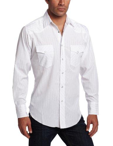 (Wrangler Men's Tall Sport Western Snap Shirt Dobby Stripe, White, Large Tall)