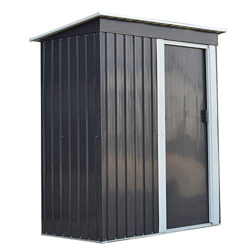Ainfox Storage Shed, Lawn Garden Toolsheds Durable Paint Finish Steel Backyard Garden Black (Best Paint For Garden Shed)