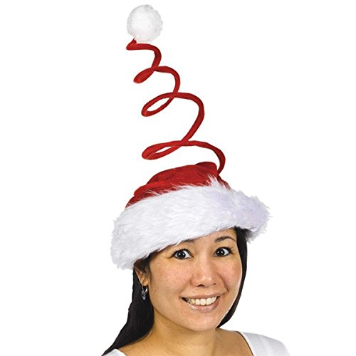 Amscan Fun-Filled Christmas and Holiday Party Swirl Santa Hat, Red/White, 16