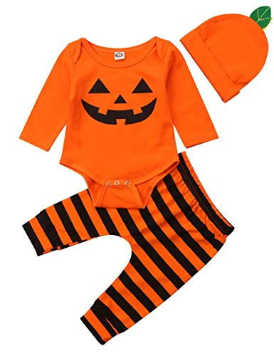 Halloween Pumpkin Costumes Baby Boy Girl Infant Romper Top Clothes+Pant+ Hat 3pc Outfit Set (3-6months) Orange ()