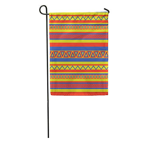 Semtomn Garden Flag Latin Bright Coloured Ethnical Mexican Geometric Pattern Southwest Abstract American Home Yard Decor Barnner Outdoor Stand 12x18 Inches Flag