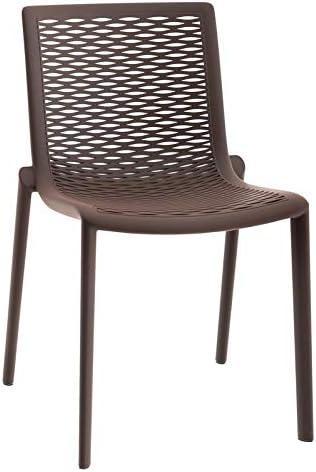 resol Set de 2 sillas de diseño Net-Kat para Interior, Exterior, jardín - Color Chocolate: Amazon.es: Hogar