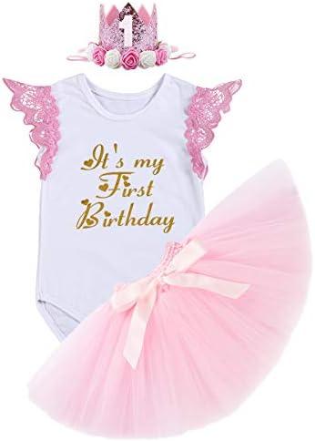 FYMNSI Baby Mädchen 1. Geburtstag Outfit Spitze Baumwolle Body Strampler Shirt + Rosa Tütü Rock + Krone Stirnband...