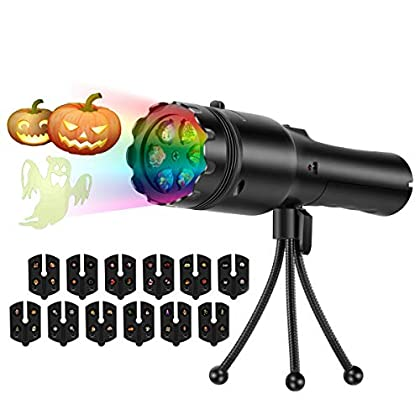 Halloween Handheld Projector Lights, 12 Slides Projection Holiday Lights, Battery-Operated 2 in 1 Decoration Light & Handheld Flashlight for Home Party, Birthday, Christmas, Easter