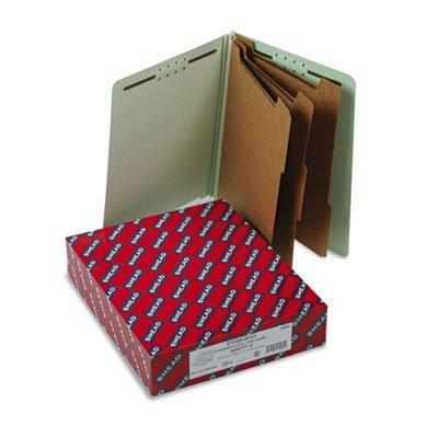 Pressboard End Tab Classification Folder, Letter, 8-Section, Gray/Green, 10/Box