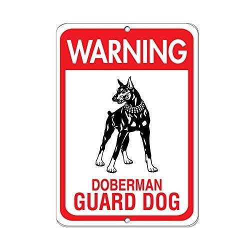 Metal Tin Sign Warning Doberman Guard Dog Pet Animal Sign Wall Art Metal Sign 12x8 Inches ()