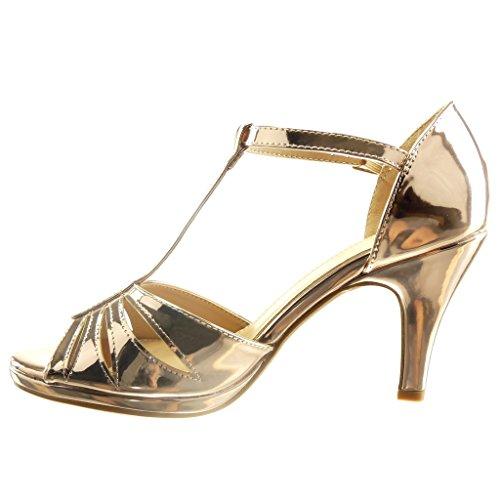 Angkorly - Chaussure Mode Sandale Escarpin salomés sexy Peep-Toe femme lanière verni multi-bride Talon haut cönique 8.5 CM - Champagne