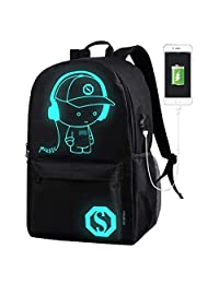 DOLIROX Luminous Schoolbag Anime School Backpack Shoulder Daypack Laptop Bag with USB Charging Port/Cable/Pencil Case and Password Lock for Travel Hiking (Large)
