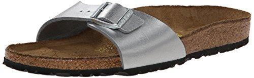 (Birkenstock Women's Madrid Birko-Flor EVA Slide Sandals Silver Size 37)