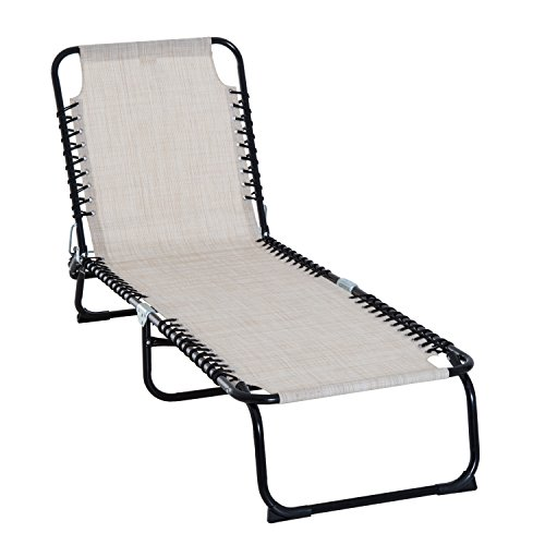 Outsunny 3-Position Reclining Beach Chair Chaise Lounge Folding Chair - Cream White (Pool White Chairs)