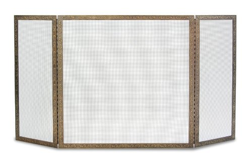 Pilgrim Home and Hearth 18239 Bay Branch Embossed Tri Panel Fireplace Screen, Antique Brass, 48