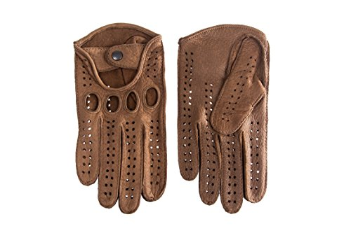 Men's Peccry Driving Gloves Color Taupe (7.5, Taupe) by Hungant