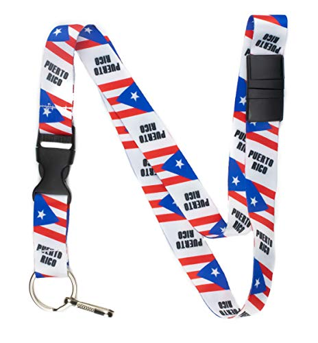 Limeloot Puerto Rico Premium Lanyard with Breakaway, Release Buckle, and Flat Ring.