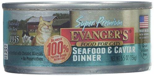 Evanger'S Super Premium Seafood & Caviar Dinner Cat Food, Case Of 24