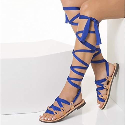 Yunyoud Estate Scarpe Basse Bohemien Shoes Perizoma Al Blu Da Donna Caratteristiche Moda Sandali Ginocchio Design Alte Sportivi Beach 4cgKqHr4v