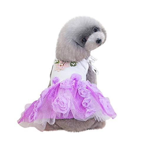 Gogoodgo Pet Dress,Super Cute Summer Tutu Flower Dresses for Dog Puppy Lace Skirt Princess Dress