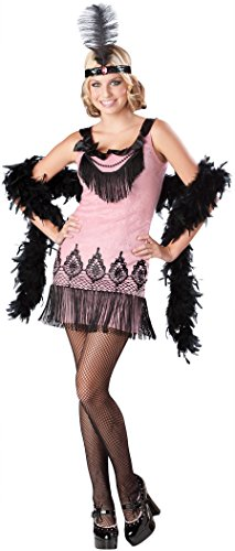Fun Halloween Costumes For Teens (InCharacter Costumes Women's Flirty Flapper Costume, Pink/Black, Large)
