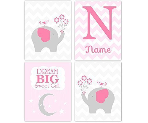 Monster High Names All (Baby Girl Nursery Art Pink Gray Elephant Personalize Monogram Name Dream Big Moon Stars Chevron Girl Room Bird Flower Baby Nursery Decor SET OF 4 UNFRAMED PRINTS)