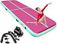 FBSPORT 8inches/4 inches Thickness Air Inflatable Track Mat,26ft/23ft/20ft/17ft/13ft/10ft Track Air Inflatable