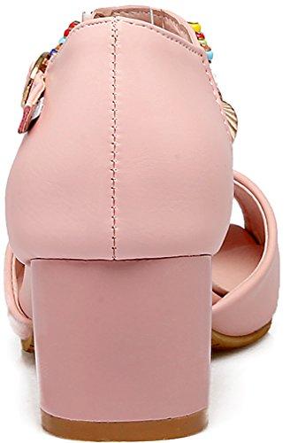 Calaier Women Salbq Open-Toe 5CM Block Heel Buckle Sandals Shoes Pink aBdsR