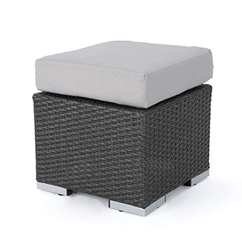 - Great Deal Furniture Malibu Outdoor 16 Inch Grey Wicker Ottoman Seat with Silver Water Resistant Cushion