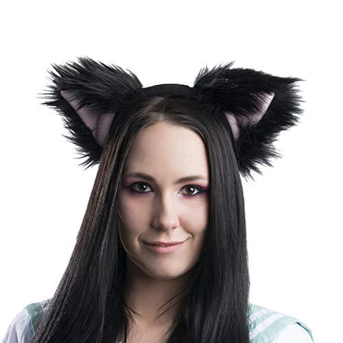 Pawstar Basic Black Kitty Cat Furry Ear Headband Adult Size Costume - Pink ()