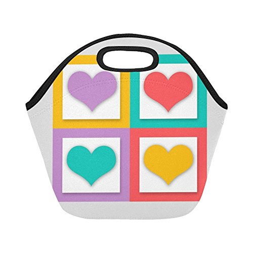 unch Bag Heart Love Valentine's Day Greeting Card Luck Large Size Reusable Thermal Thick Lunch Tote Bags For -lunch Boxes For Outdoors,work, Office, School ()