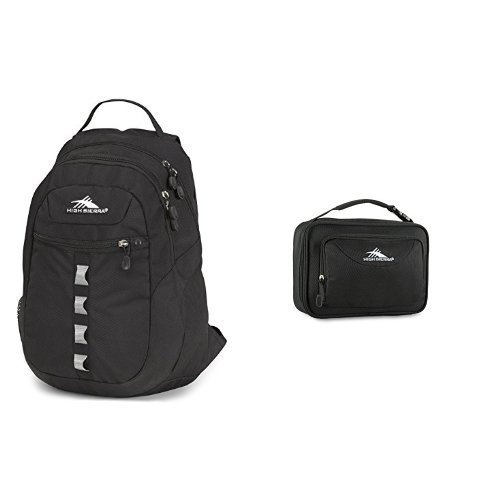 High Sierra Opie Backpack (18.5 x 12.5 x 8.5-Inch, Black) and High Sierra Single Compartment Lunch Bag, Black (High Shoulder Sierra Bag Mini)