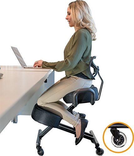 Ergonomic Chair (Sleekform Ergonomic Kneeling Chair with Backrest and Handles (MESH) - Adjustable Knee Stool for better Posture - Great for Home & Office - Proprietary Foam - Sturdy Desk Chair - Orthopedic Stool)