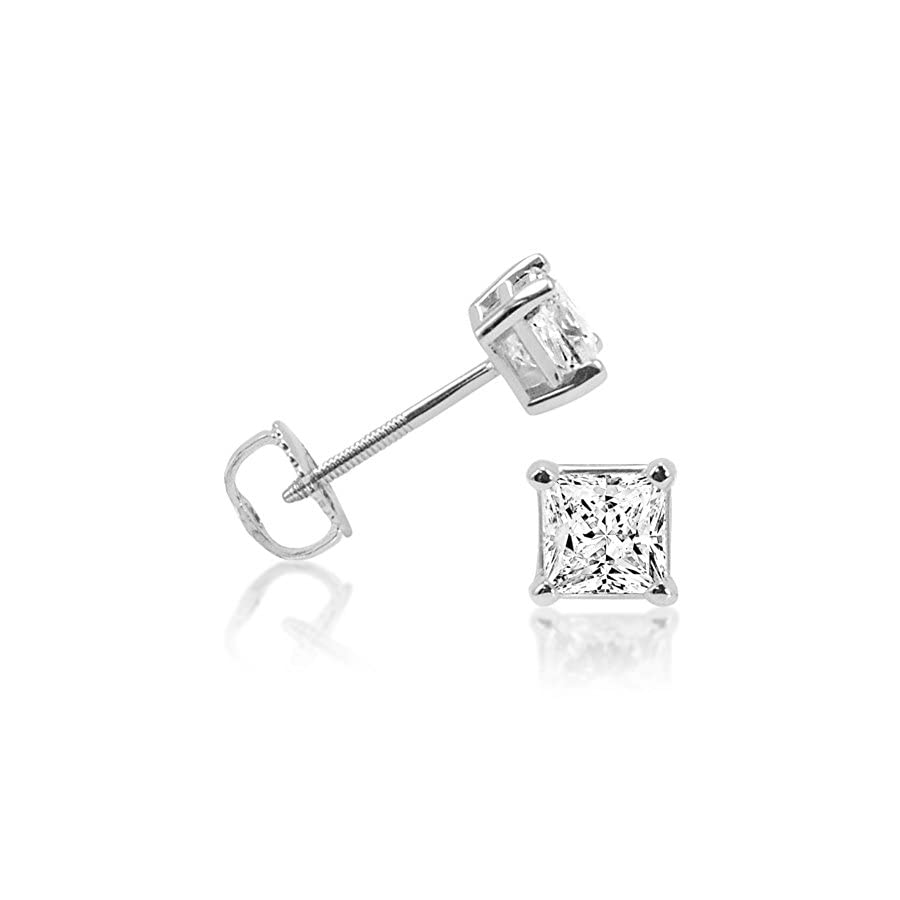 IGI Certified 1cttw. Princess Cut Diamond Stud Earrings 14K White Gold Screw Backs