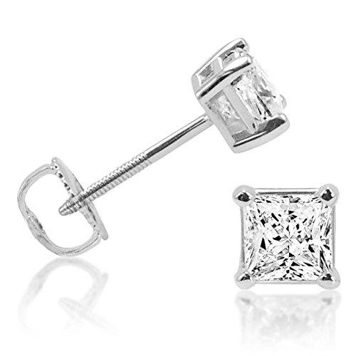 IGI Certified 1cttw. Princess Cut Diamond Stud Earrings 14K White Gold Screw Backs