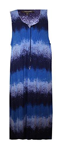 - ELLEN TRACY Watercolor Plus Size Maxi Lounge Dress/Nightgown (Plus Size 1X, Watercolor Navy-Light Blue-Royal Blue=Periwinkle)