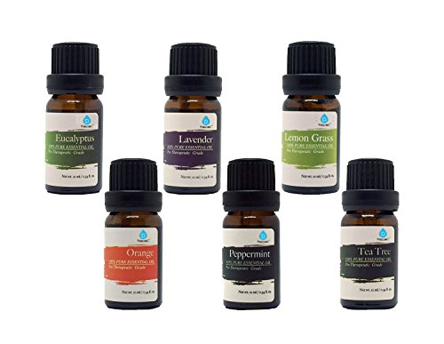 Gift Drop Set - Pursonic 100% Pure Essential Aromatherapy Oils Gift Set-6 Pack , 10ML(Eucalyptus, Lavender, Lemon grass, Orange, Peppermint, Tea Tree)