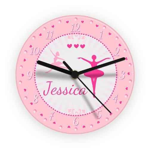 Personalized Girl's Bedroom Wall Clock - Ballerina Design, B