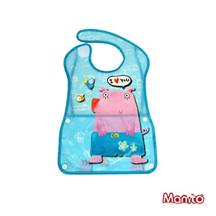 [Manito] Vinyl Quick Wash Bib / Washable Bib for Baby, Cute Animal Design Waterproof SAFE Eco-friendly Bib (Pig)