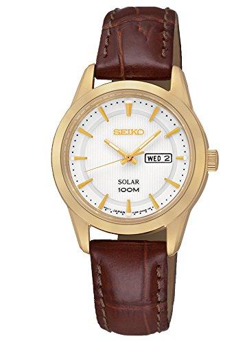 Seiko Solar - Reloj de cuarzo para mujer, correa de cuero color marrón: Amazon.es: Relojes