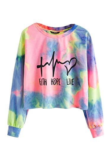 SweatyRocks Women's Casual Letter Print Long Sleeve Crewneck Crop Top Sweatshirt Pullover T-Shirt