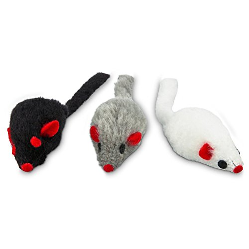 Leaps & Bounds Fuzzy Mice Cat Toys with Catnip, Pack of 3 Toys, Assorted ()