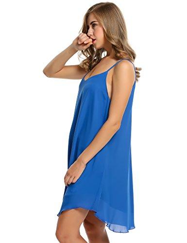 cooshional Vestido de gasa sin mangas vestido casual de playa de las mujeres Azul