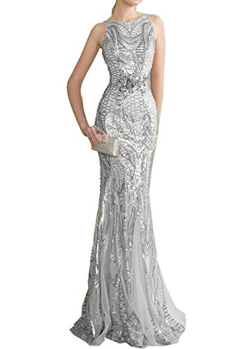 Womens Sequin Long Mermaid Evening Gowns Silver Mother of The Bride Dresses 2018 14