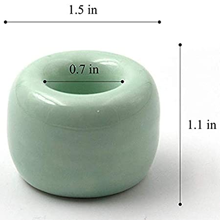 Prewinshop Mini Ceramics Handmade Couple Toothbrush Holder Stand for Bathroom Pack of 2 White