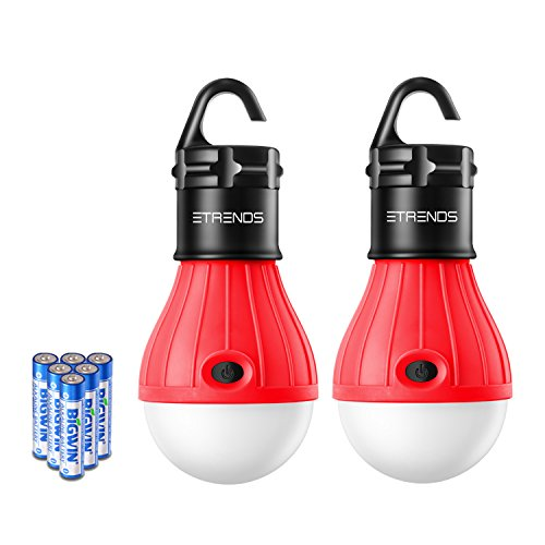 2 Pack E-TRENDS Portable LED Lantern Tent Light Bulb for Camping Hiking Fishing Emergency Lights, Battery Powered Lamp with 6 AAA Batteries, Red