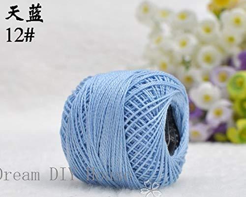 Zamtac 10 Rolls Sky Blue Color 9s/2 100% Cotton Stitch Embroidery Thread Crochet Thread Hand Cross Embroidery Thread